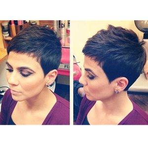 Высокого качество Короткие Pixie бразильские Природного Balck волосы человеческих парики бесклеевых полный фронт кружево кружева сократить синтетические парики волос для черных женщин