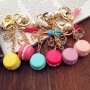 Lovely Macaron Keychains Bag Pearl Charm Keychain Chaveiro llaveros Gold Metal Keyring Car Key Holder