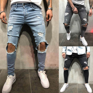 YJSFG HOUSE Mens Pencil Pants Skinny Jeans Biker Hip Hop Destroyed Frayed Slim Fit Denim Pants Ripped Hole Punk Trousers