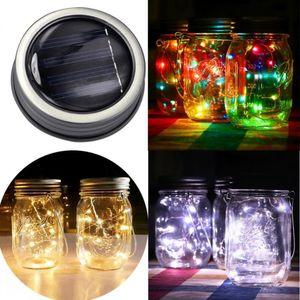 10 LED Güneş Mason Kavanoz Kapağı Peri Dize Işık Bahçe Asılı Lamba Düğün Noel Açık Dekorasyon
