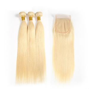 Virgin Brazilian Hair Bundles 613 금발의 인간의 머리카락은 레이스 클로저로 위사를 짠다 스트레이트 바디 웨이브 인모 헤어 익스텐션
