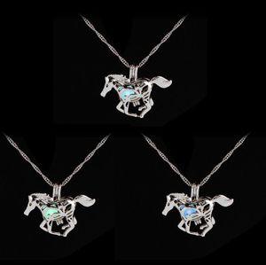 Moda luminosa brillante en el collar de caballo oscuro unicornio suéter collar nuevo diseño encanto encanto plateado cadenas collares 100 piezas