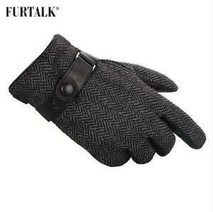 FURTALK Men Winter Real Lamb Guantes de cuero de moda con cálida cachemira forro guantes tácticos