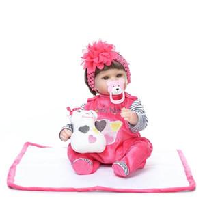 2018 42 CM / 16.5 Pulgadas Muñecas Reborn de Silicona Bonecas Baby Reborn Realista Chupete Magnético Bebe Reborn Doll Vestido Rojo Regalo de la muchacha