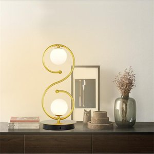 Simple Nordic Home Bedside Table Lamp Creative Eye Protection Lamp S-curve Glass Ball Warm Desk Lamp