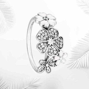 Authentic 925 Sterling Silver White esmalte Anéis de Flores Caixa Original para Pandora Jóias de Prata para As Mulheres anel de Casamento de cristal Natural