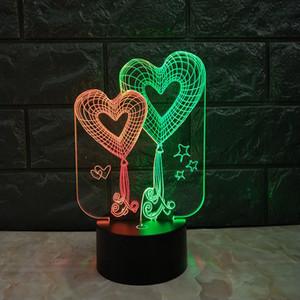 더블 하트 듀얼 컬러 3D 램프 3D Optial LED 램프 밤 램프 USB 전원 (7) RGB 빛 DC 5V 도매 무료 배송