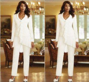 Elegante chiffon bianco Madri Pant Abiti su ordine increspature Madre delle tute formali sposa abiti a maniche lunghe estive