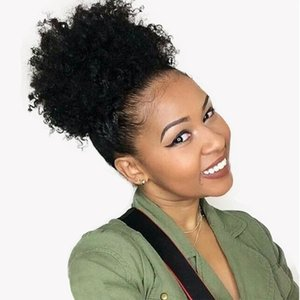 Mongolian Afro Kinky Curly Queue De Cheval Pour Femmes Couleur Naturelle Remy Hair 1 Pièce Clip De Cordon En Ponytails 100% Cheveux Humains 100g-160g