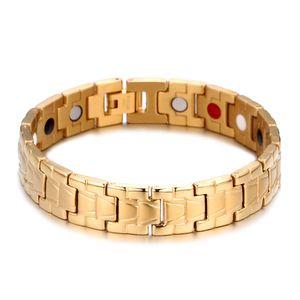 Vente chaude Or Titane Bracelet de Thérapie Magnétique pour Arthrite Soulagement de la Douleur Thérapie Magnétique Santé Alerte Médicale ID Bracelets pour Hommes