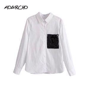 MOARCHO Frauen Elegante Pailletten Weiß Shirts Damen Tasche Langarm Umlegekragen Bluse Femmel Marke Casual Tops Blusas