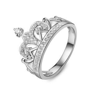 Корона Форма Очаровательная Стерлингового Серебра Белого Золота Цвета Надежные Синтетические Бриллианты Кольцо Женщин Свадьба Классические Ювелирные Изделия