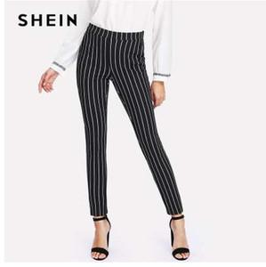 SHEIN Pantalones pitillo de rayas verticales mujeres bolsillo de cintura elástica estilo OL Pantalones de trabajo 2018 primavera mediados de cintura pantalones largos de lápiz