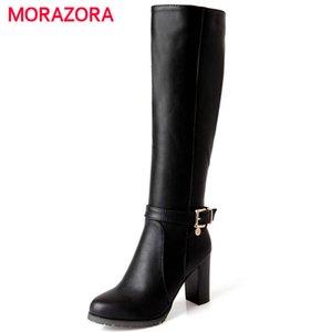 MORAZORA Heißer verkauf neue mode weichen pu-leder high heels kniehohe stiefel schnalle boote frauen motorradstiefel herbst winter schuhe