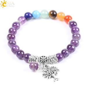 CSJA Natural Stone Amethyst 7 Chakra Bracelet اليوغا شجرة التأمل من أساور توازن الحياة للنساء Reiki الشفاء المجوهرات F107
