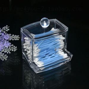 Custodia in cotone trasparente per bastoncini di cotone con bastoncino portaoggetti - Custodia per organizzatore in acrilico trasparente per trucco cosmetico di alta qualità
