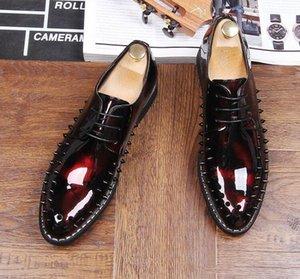 남자 복장 신발 명품 남성 리벳 가죽 신발 운전 Oxfords Mens Loafers Moccasins Italian Shoes