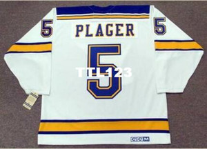 Mens # 5 BOB PLUGER St. Louis Blues 1967 CCM Vintage Home Hóquei Jersey ou personalizado qualquer nome ou número retro Jersey