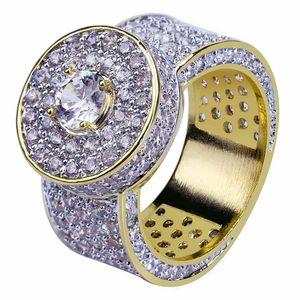 herren ring vintage hip hop schmuck weiß zirkon vereist aus kupfer luxuriöse ringe luxus gold Business-Art Mode Schmuck Großhandel