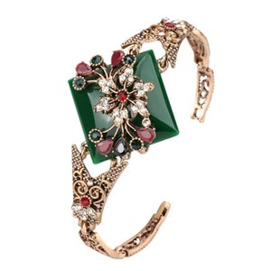 2018 Turkish Vintage Flower Cuff Bracelets For Women Resin Crystal Bangle Bohemia Pastoral Style Natural Stone Jewelry Wholesale