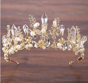 2020 di alta qualità in oro e perle di cristallo Strass copricapo Hair Sticks HairBands Corone Wedding i diademi del partito degli accessori diadema poco costoso