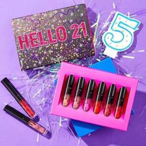 Mais novo HELLO 21 Lip Gloss 6 cores Aniversário Maquiagem Matte Batom Edição Limitada Coleção Aniversário Olá Kit 21 batons Lipgloss set