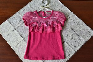 2-7 years baby Girls summer bow lace hollow tops, children cotton Tees, retail kids boutique clothing, R1ES12TP-04