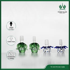 Толстые Pyrex Glass Bowl животных с 14mm 18mm Мужской Зеленый Синий Осьминог Herb табака Бонг Чаши для стекла Водопроводные трубы затяжками Dab станкам
