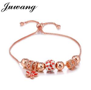 JUWANG Bracelets DIY Women Beaded Red Enamel Flower  Cubic Zirconia Adjustable Chain Bracelet Fashion Pandor Jewelry