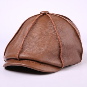 Мужская натуральная кожа Hat мужской корова Cap мужской коровьей теплый бейсболка взрослый уха защиты открытый восьмиугольные Hat