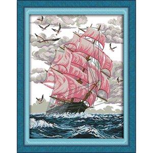The Sail away (5) Patrones de bricolaje hechos a mano, kit de punto de cruz y set de bordado estampado preciso, costura DMC 14ct y 11ct
