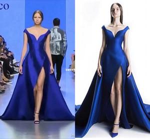 MICHAEL CINCO Dubai 2019 Royal Blue Prom Kleider aus der Schulter Seite Split A Line Gericht Zug formelle Anlässe Abendkleider nach Maß