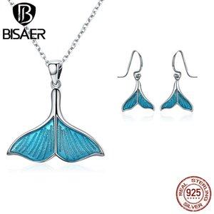 BISAER Moda 925 Conjuntos de joyas de plata esterlina Peces ballenas cola, azul esmalte colgante, collar, pendientes, joyería