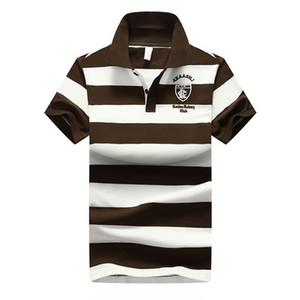 Tasarımcı Erkekler Shirt Yeni Yaz Casual Çizgili Pamuk Erkek Polo Kontrast Renk Polo Shirt Polo Erkek Camisa Boyut M-4XL