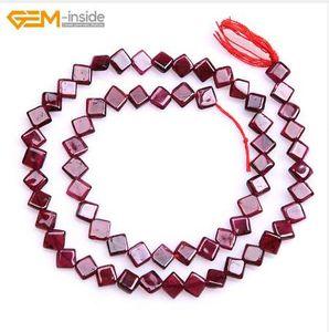 Gem-inside Natural Square Granate Cuentas de piedra para la Fabricación de Joyas 5mm 15inches DIY Jewelry