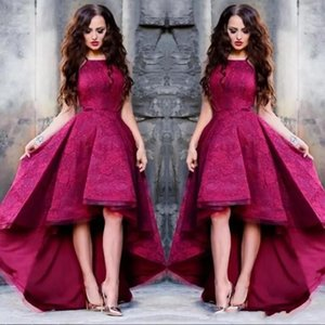 2018 Vino Vestidos de baile Espaguetis sin tirantes sin mangas de encaje apliques Corto Alto Bajo Una línea Vestidos de noche Vestir Vestidos de cóctel de fiesta baratos