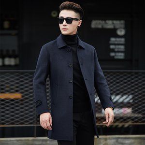 new brand single-breasted wool coat 2018 winter thick warm warm business casual men's slim jacket coat black gray