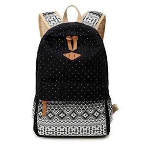 Toptan-2016 Yeni Moda stil kadın okul çantaları tuval baskı sırt çantası genç kızlar için sevimli okul çantaları sırt çantaları 4 renkler
