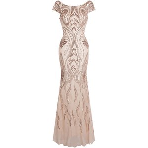 Angel-fashions Women's Bateau Cap Sleeve Floral Sequin Sheath V Back Evening Dress Evening Party Gown 378