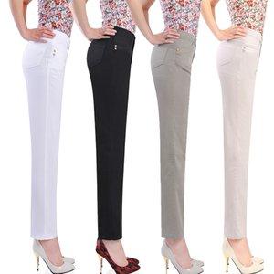 NIFULLAN Verano Otoño Quinquagenarian 100% Pantalones Capris de Algodón Madre Ropa Más Tamaño Capris Casuales de Las Mujeres