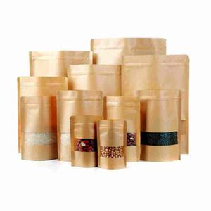 Comida-à prova de umidade-Presente Marrom Kraft Saco De Papel Zip Lock Food Snack Saco De Chá De Embalagem de varejo de papel ofício saco de comida