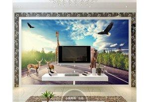 papel de parede 3D пользовательские фото фреска обои дорога леса животных пейзаж декоративные росписи 3D фон обои домашнего декора