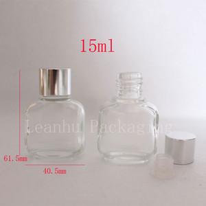 15 ml di flaconi di profumo di vetro piccoli quadrati vuoti con tappi di vetro di olio essenziale da 15 cc, coperchio di bottiglie di vetro trasparente riutilizzabile