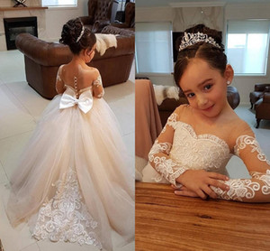 2018 Ucuz Dantel Çiçek Kız Elbise Uzun Kollu Bebek Kız Doğum Günü Partisi Cemaat Elbiseler Yay Kanat Çocuk Kız Parti Pageant elbise