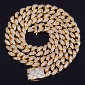 جديد حار البائع 20MM مثلج خارج الزركون قلادة الكوبي الهيب هوب سلسلة مجوهرات مادة النحاس CZ المشبك الرجال قلادة رابط 18-28inch