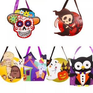 2018 NEUE Halloween DIY Papier Geschenktüte Cartoon Kreative Süßigkeiten Taschen Kinder handgemachte DIY handtaschen Schädel Kürbis katze hexe Ghost 10 arten