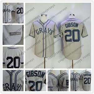 Mens # 20 Josh Gibson Jersey The Movie Stati Uniti Negro Leagues NLBM Homestead Grays Cucito film Button Up Baseball Maglie bianche cucite S-3XL