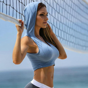 Womens Sexy Hooded Camisoles Tanks Active Jogger Tops Sleeveless Tshirts Woman YOGA U Neck Solid Color Short Tees Tanks Womens Underwear