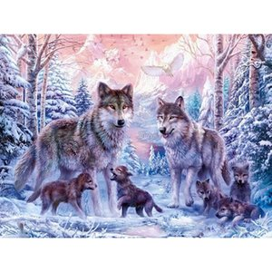 New stone painting diamond wolf family painting square Diamond Embroidery Full Paste Square Cross Stitch Home Decoration Paintings
