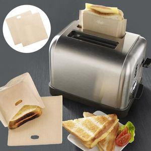 2018 PTFE 샌드위치 토스터 빵 케이크 가방 재사용이 가능한 스틱 베이킹 봉투 바베큐 전자 레인지 튀김 가열 가방 BBQ 가방 16 * 16.5cm SN636